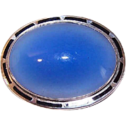 ART DECO Sterling Silver, Black Enamel & Blue Chalcedony Oval Pin/Brooch!