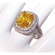Vintage STERLING SILVER & 6CT TW Cubic Zirconia/CZ Ring - Canary Yellow Cocktail Ring!