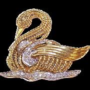ESTATE 14K Gold & 1CT TW Diamond Pin - Swan Gliding Upon a Lake!