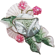 C.1950 French Ribbon Work RIBBON ROSE Applique - Lovely Aqua Tones with Pink Accents!