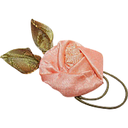 Vintage FRENCH RIBBON WORK Handmade Ribbon Rose - Peach Satin, Green Cording & Olive Green Wired Leaves!