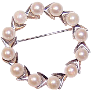 Vintage STERLING SILVER & Cultured Pearl Pin/Brooch - A Circle of 5mm Beauties!