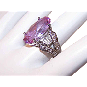 Vintage STERLING SILVER & Cubic Zirconia/CZ Fashion Ring - Amethyst & Clear Stones!