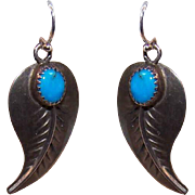 Vintage STERLING SILVER & Turquoise Drop Earrings - Curved Feathers or Leaves!