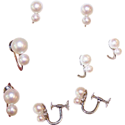 ESTATE 14K Gold & 4.5mm/6.5mm Cultured Pearl Screwback Earrings!