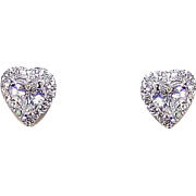 ESTATE 14K Gold .80CT TW Diamond Studs - Heart Shape with Halo!