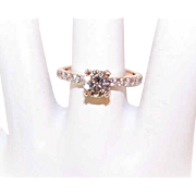 GIA 14K Rose Gold, 1.01CT Diamond & .42CT TW Halo Diamonds Engagement Ring!