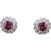 ESTATE 14K Gold, .56CT TW Rhodolite Garnet & .36CT TW Diamond Halo Earrings!