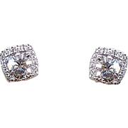 GIA 14K Gold, 1.02CT TW Diamond Solitaire & .40CT TW Diamond Jacket Pierced Earrings!