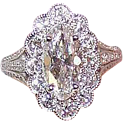 GIA 14K Gold & 1.56CT Marquise Diamond Engagement Ring with 1.22CT TW Shoulder Stones - VS1, D Color!