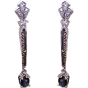 ART DECO Revival 14K Gold, 1CT TW Sapphire & .24CT TW Diamond Drop Earrings!