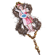 VICTORIAN REVIVAL Christmas Ornament - Victorian Die Cut, Tinsel, Glass Beads - Messenger of Love!