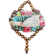 VICTORIAN REVIVAL Christmas Ornament - Victorian Die Cut, Tinsel, Glass Beads - Many Joys to You!