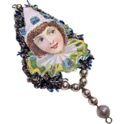 VICTORIAN REVIVAL Christmas Ornament - Victorian Die Cut, Tinsel, Glass Beads - Girl Clown!