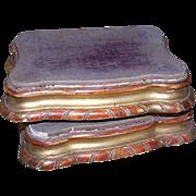 Pair C.1880 ITALIAN Gilt Wood & Velvet Pedestals or Plinthes!