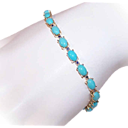 Vintage 14K Gold, 12CT TW Persian Turquoise & .24CT TW Blue Sapphire Line Bracelet/Tennis Bracelet!