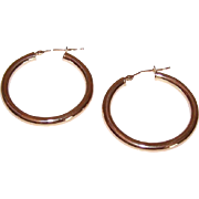 "Vintage 14K Gold 1-1/8"" Hoop Earrings - Yellow Gold Hoops - 1.6 Grams!"