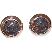 Vintage STERLING SILVER, 14K Gold Vermeil & Roman Bronze Coin Pierced Earrings!