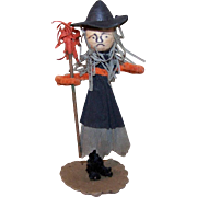 Vintage MADE IN JAPAN Halloween Chenille Ornament - Witch with Her Broom - Spun Cotton Head!