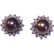 ESTATE 14K Gold, 6mm Black Tahitian Pearls & .42CT TW Diamond Halo Earrings (Pierced - Studs)!