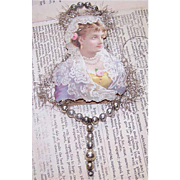 VICTORIAN REVIVAL Christmas Ornament - Victorian Die Cut, Tinsel, Glass Beads - Lovely Lady in Lilac!