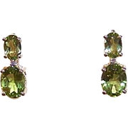 ESTATE 10K Gold, 3.16CT TW Peridot & .02CT TW Diamond Earrings - Pierced - Posts with Nuts!