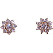 ESTATE 14K Gold, 1CT TW Halo Ear Jackets with .50CT TW Diamond Solitaire Studs!