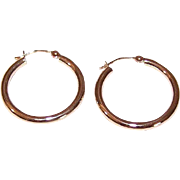 "Vintage 14K Gold 7/8"" Hoop Earrings - Yellow Gold Hoops - .9 Grams!"