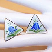 1950s STERLING SILVER & Enamel Clipback Earrings by OPRO, Norway - Bluebells!