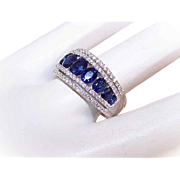 ESTATE 14K Gold, 1.98CT TW Sapphies & .47CT TW Diamond Wedding Band/Wedding Ring!