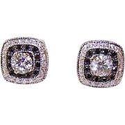ESTATE 14K Gold .80CT TW Diamond Studs with .66CT TW Black Diamond Ear Jackets!