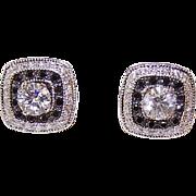 ESTATE 14K Gold .80CT TW Diamond Studs with .66CT TW Black Diamond Ear Jackets!