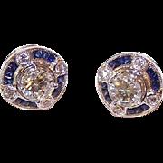 ART DECO Revival 14K Gold 1.08CT TW Diamond Studs with .32CT TW Sapphire & Diamond Earring Jackets!