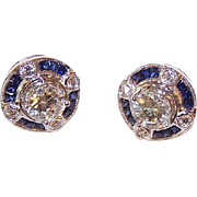 ART DECO Revival 14K Gold 1.08CT TW Diamond Studs with .32CT TW Sapphire & Diamond Earring Jackets!