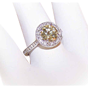 GIA 14K Gold & 1.22CT Old European Cut FANCY YELLOW Diamond Engagement Ring with .38CT TW Halo!