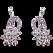 Retro Modern PLATINUM & 4.12CT TW Diamond Earrings - Posts with Omega Backs!