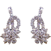 Retro Modern PLATINUM & 4.12CT TW Diamond Earrings - Posts with Omega Backs!