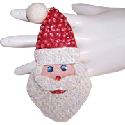 Vintage 1960s HANDMADE Felt & Sequin Santa Pin - SO Cute!
