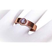 Vintage SPEIDEL Stainless Steel Ring (Rose Gold Overlay) with Cubic Zirconia/CZ Solitaire!