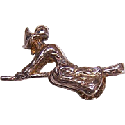 Vintage STERLING SILVER Halloween Charm - Flying Witch on a Broomstick!
