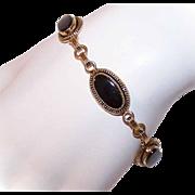 """VICTORIAN REVIVAL Gold Filled & Black Onyx Link Bracelet - 7 1/2"""" Long!"""