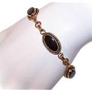 "VICTORIAN REVIVAL Gold Filled & Black Onyx Link Bracelet - 7 1/2"" Long!"