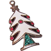 Vintage Mexican STERLING SILVER & Enamel Charm - Christmas Tree with Lights