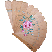 "C.1900 Hand Painted Advertising Fan (Pink Rose) - ""Compliments of"" Kriegshauser, St. Louis, Mo!"