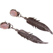 Vintage STERLING SILVER & Pink Mother of Pearl Drop Earrings - Feather Drops!