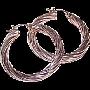 "Vintage STERLING SILVER 1-3/8"" Twisted Hoop Earrings for Pierced Ears!"