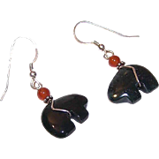 Vintage STERLING SILVER, Carnelian & Green Aventurine Drop Earrings - Carved Bear!