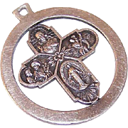 Vintage STERLING SILVER 4-Way Religious Medal or Pendant for a Gent!