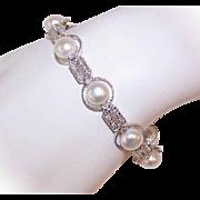 Bridal Beauty! ESTATE 14K Gold, .50CT TW Diamond & 8mm Cultured Pearl Bracelet!