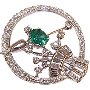 ART DECO Platinum, .50CT TW Emerald & 2.04CT TW Diamond Pin - Circular with Stylized Design at Center!
